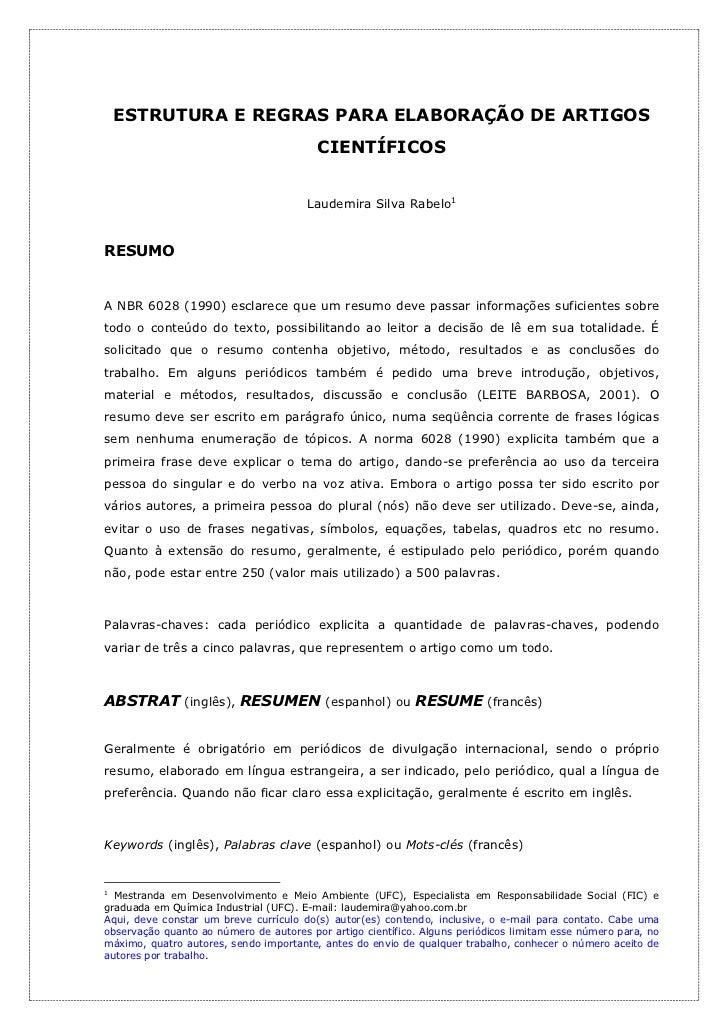ESTRUTURA E REGRAS PARA ELABORAÇÃO DE ARTIGOS                                         CIENTÍFICOS                         ...