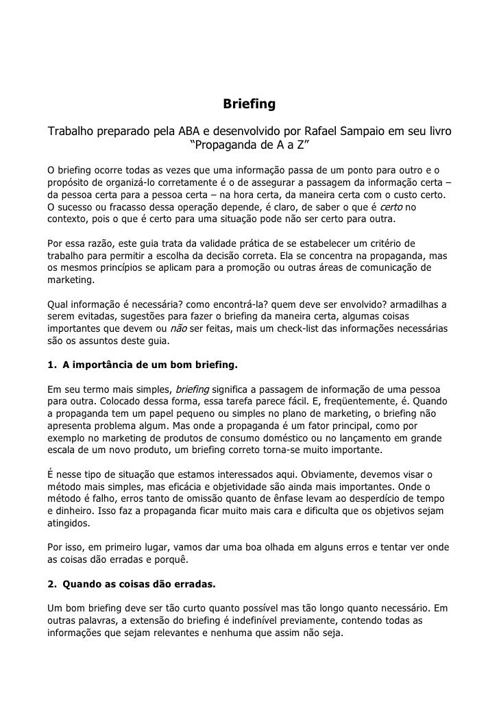 """BriefingTrabalho preparado pela ABA e desenvolvido por Rafael Sampaio em seu livro                          """"Propaganda de..."""
