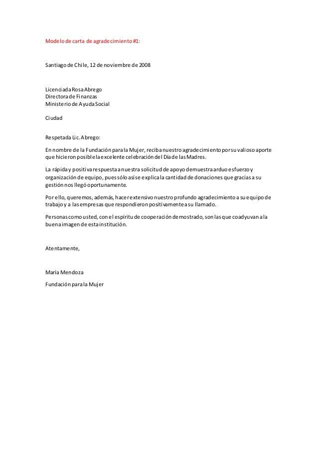 Modelo De Cartas De Agradecimiento Por Donacion Globeooffer Com