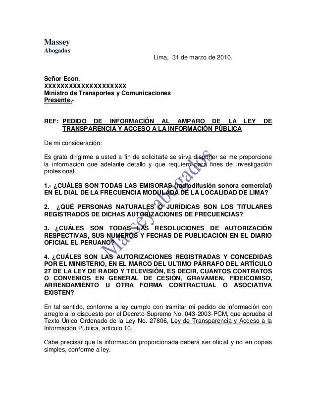 MODELO DE CARTA DE PEDIDO DE INFORMACIÓN AL AMPARO DE LA LEY DE TRANS…