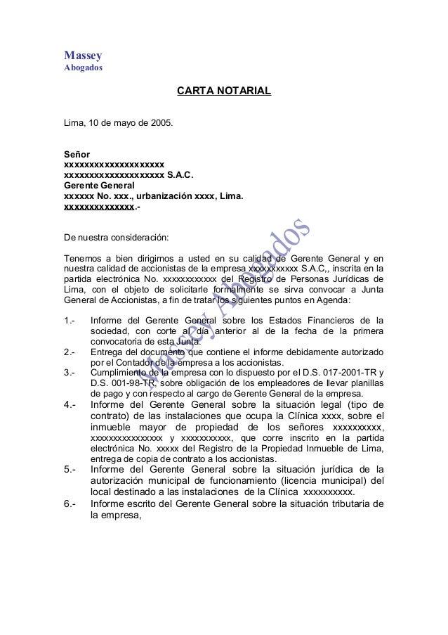 Modelo De Carta Notarial De Pedido De Junta De Accionistas