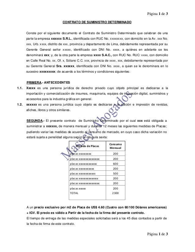 Página 1 de 3 Página 1 de 3 CONTRATO DE SUMINISTRO DETERMINADO Conste por el siguiente documento el Contrato de Suministro...