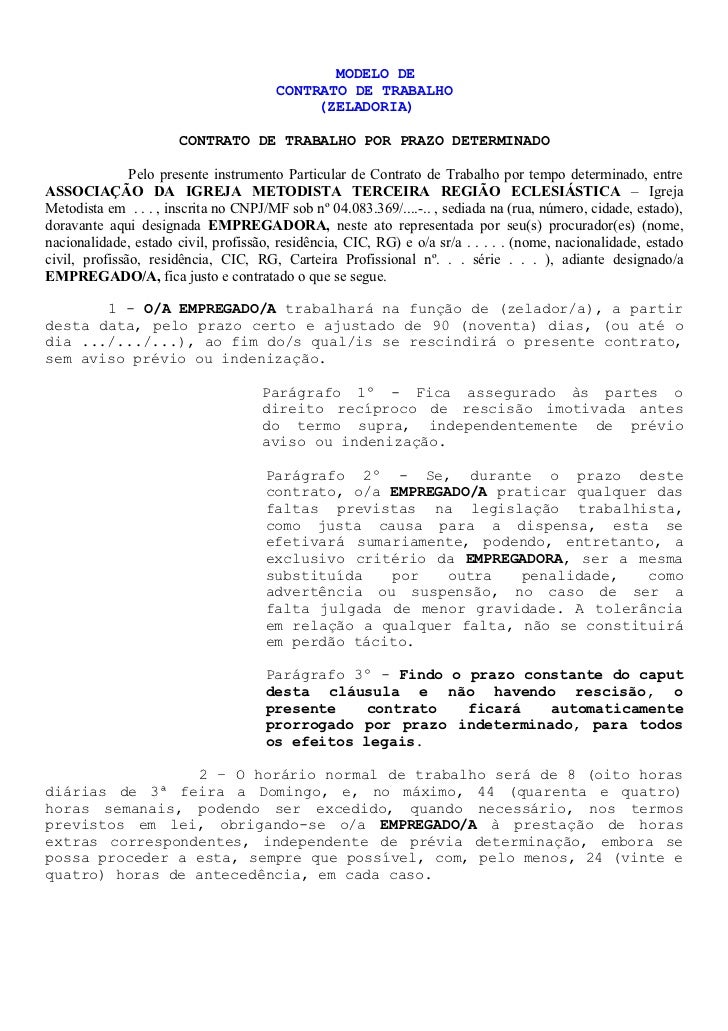 MODELO DE                                       CONTRATO DE TRABALHO                                            (ZELADORIA...