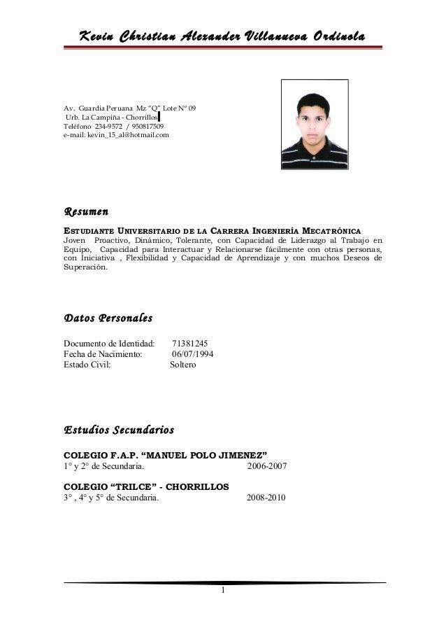 Modelo De Curriculum Vitae. Kevin Christian Alexander Villanueva Ordinola  Av. Guardia Peruana Mz U201cQu201d Lote Nº 09 ...  Modelos De Resume