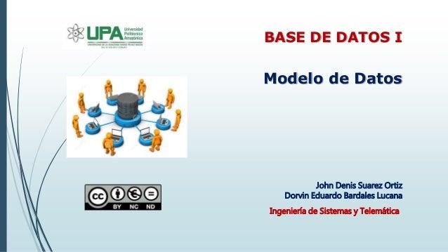 John Denis Suarez Ortiz Dorvin Eduardo Bardales Lucana Modelo de Datos BASE DE DATOS I Ingeniería de Sistemas y Telemática