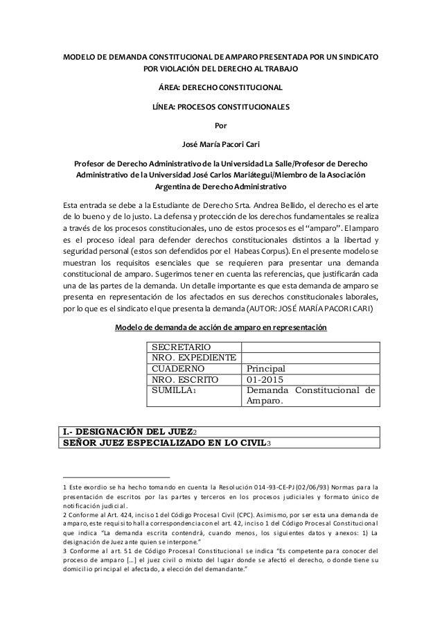 Modelo de demanda constitucional de amparo presentada por for Consulta demanda de empleo