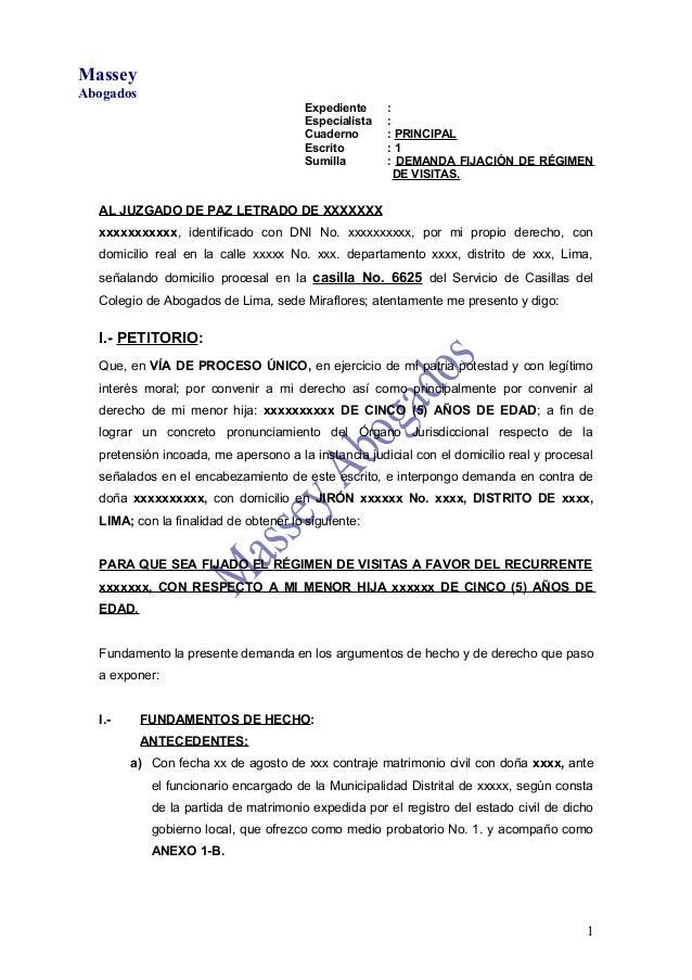 MODELO DE DEMANDA DE FIJACIÓN DE RÉGIMEN DE VISITAS