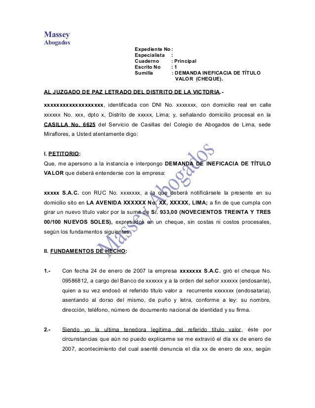 MasseyAbogadosExpediente No:Especialista :Cuaderno : PrincipalEscrito No : 1Sumilla : DEMANDA INEFICACIA DE TÍTULOVALOR (C...