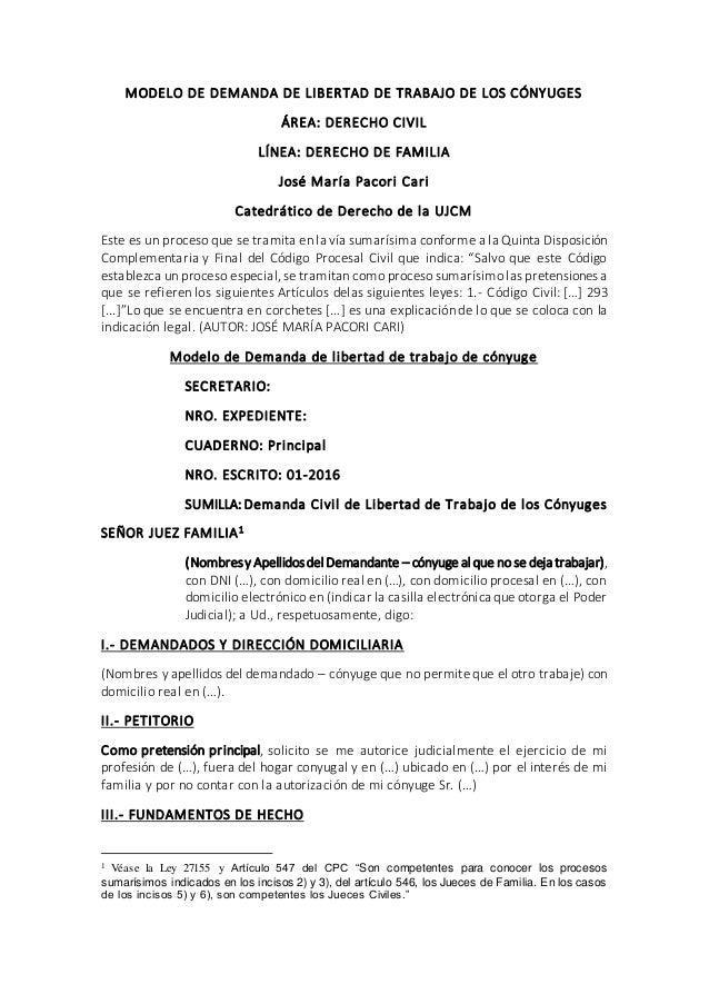 Modelo de demanda de libertad de trabajo de los c nyuges for Consulta demanda de empleo