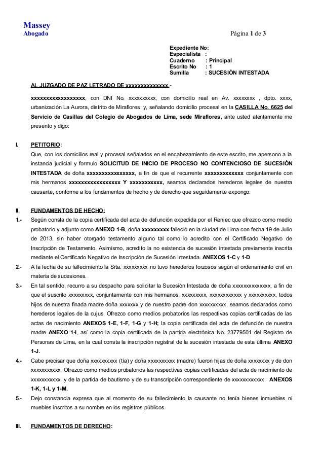 MODELO DE DEMANDA DE SUCESIÓN INTESTADA- PROCESO NO CONTENCIOSO