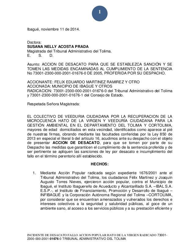 INCIDENTE DE DESACATO FALLO ACCION POPULAR HATO DE LA VIRGEN RADICADO 73001- 2300-000-2001-01676-0 TRIBUNAL ADMINISTRATIVO...