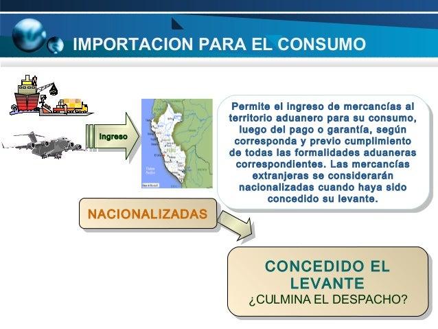 IMPORTACION PARA EL CONSUMO  Ingreso Ingreso  NACIONALIZADAS NACIONALIZADAS  Permite el ingreso de mercancías al Permite e...