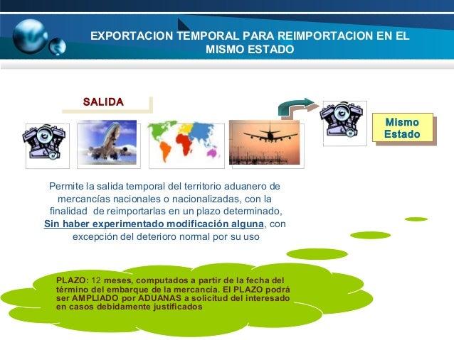 EXPORTACION TEMPORAL PARA REIMPORTACION EN EL MISMO ESTADO  SALIDA SALIDA Mismo Mismo Estado Estado  Permite la salida tem...