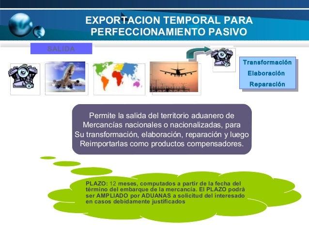 EXPORTACION TEMPORAL PARA PERFECCIONAMIENTO PASIVO SALIDA SALIDA Transformación Transformación Elaboración Elaboración Rep...