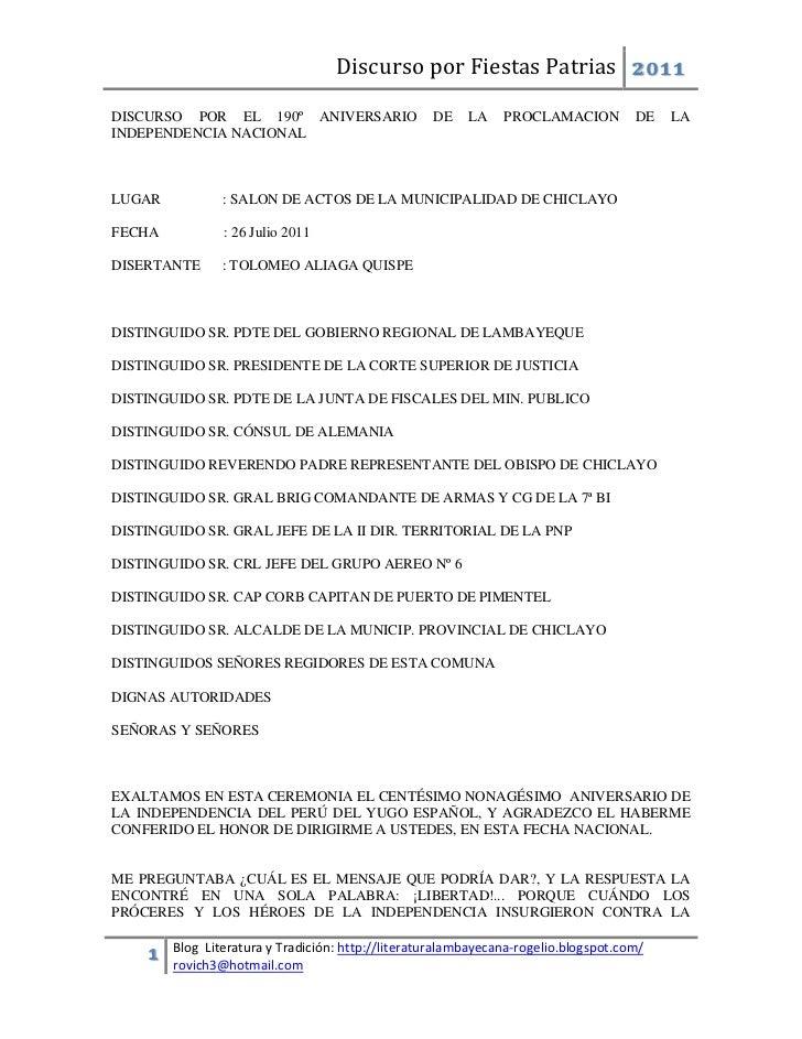 Discurso por Fiestas Patrias 2011DISCURSO POR EL 190º ANIVERSARIO                   DE    LA    PROCLAMACION          DE  ...