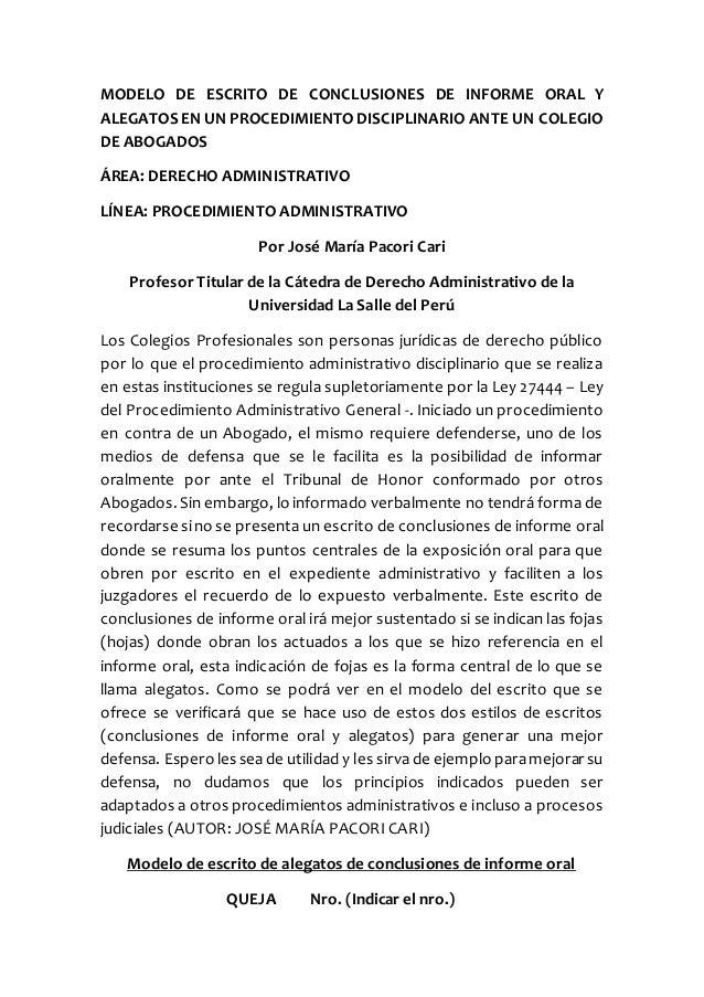 MODELO DE ESCRITO DE CONCLUSIONES DE INFORME ORAL Y ALEGATOS EN UN PROCEDIMIENTODISCIPLINARIO ANTE UN COLEGIO DE ABOGADOS ...