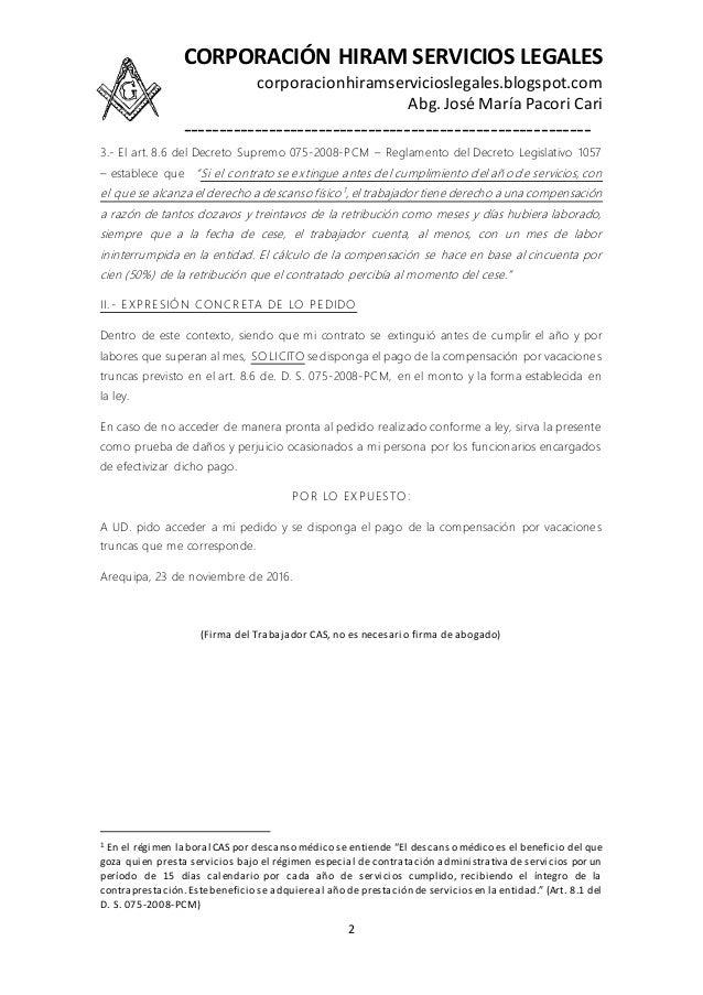 Modelo de escrito de solicitud de pago de compensación por