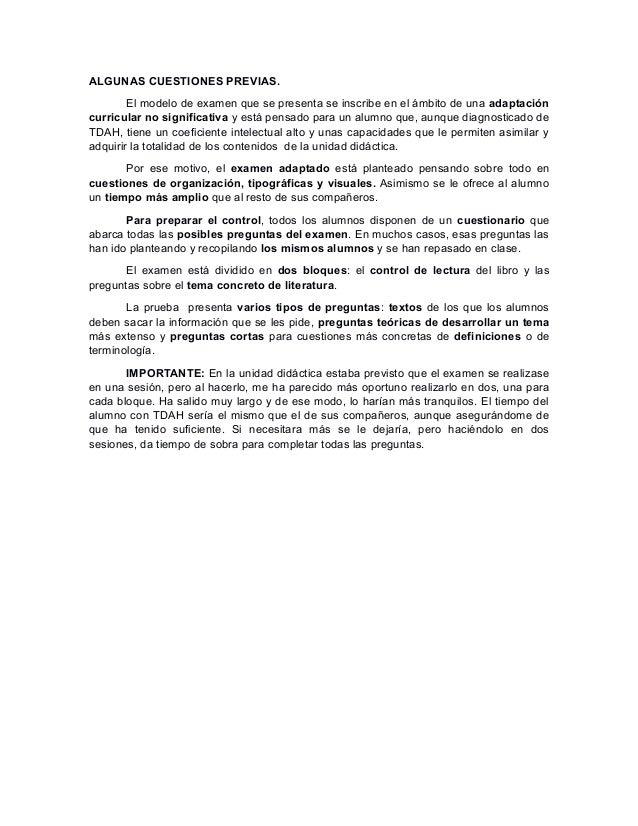 ALGUNAS CUESTIONES PREVIAS. El modelo de examen que se presenta se inscribe en el ámbito de una adaptación curricular no s...