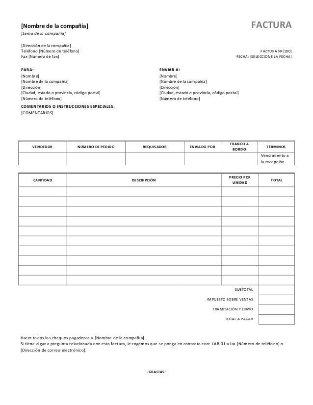 [Nombre de la compañía][Lema de la compañía][Dirección de la compañía]Teléfono [Número de teléfono]Fax [Número de fax]FACT...