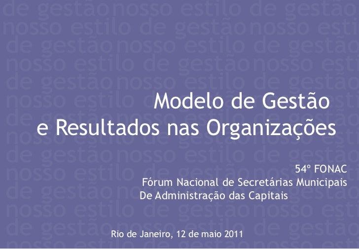 Modelo de Gestão <br />e Resultados nas Organizações<br />54º FONAC<br />Fórum Nacional de Secretárias Municipais<br />De ...