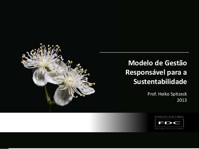 Material de responsabilidade do professor Modelo de Gestão Responsável para a Sustentabilidade Prof. Heiko Spitzeck 2013