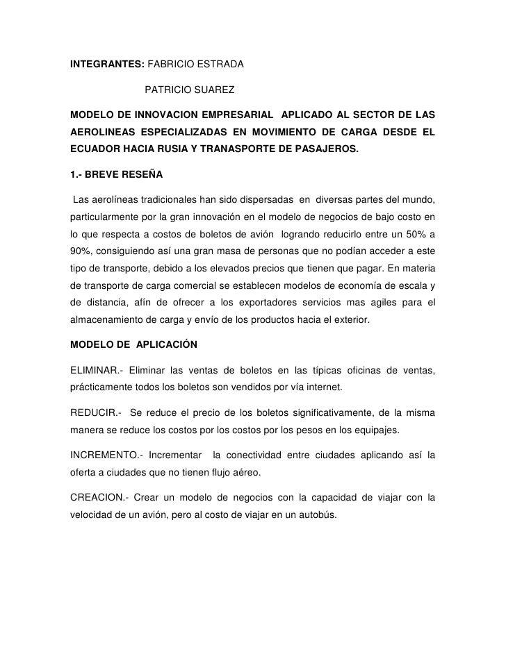 INTEGRANTES: FABRICIO ESTRADA                 PATRICIO SUAREZMODELO DE INNOVACION EMPRESARIAL APLICADO AL SECTOR DE LASAER...