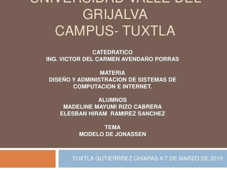 UNIVERSIDAD VALLE DEL GRIJALVACAMPUS- TUXTLA<br />TUXTLA GUTIERRREZ CHIAPAS A 7 DE MARZO DE 2010<br />CATEDRATICO<br />ING...