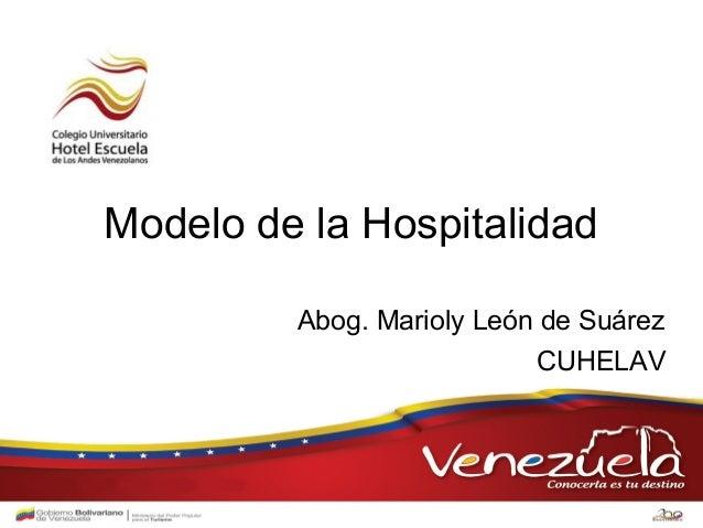 Modelo Modelo de deHospitalidad           la la       Hospitalidad de Suárez        Abog. Marioly León                    ...