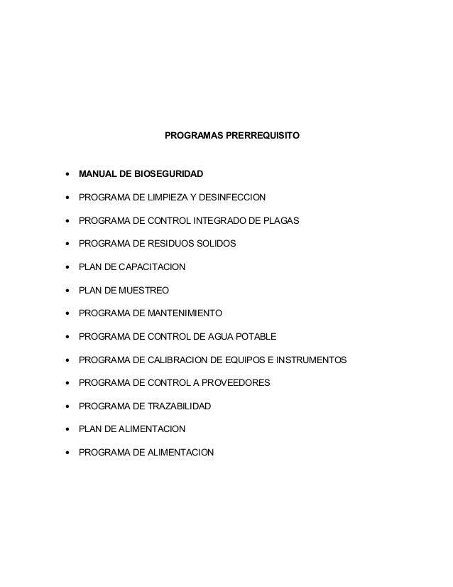 Modelo de manual de buenas pr cticas de manufactura en la for Programa de limpieza y desinfeccion en industria alimentaria