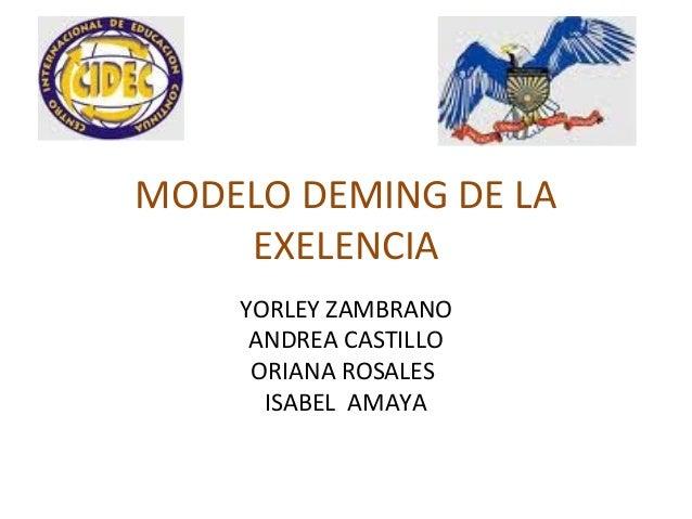 MODELO DEMING DE LA EXELENCIA YORLEY ZAMBRANO ANDREA CASTILLO ORIANA ROSALES ISABEL AMAYA