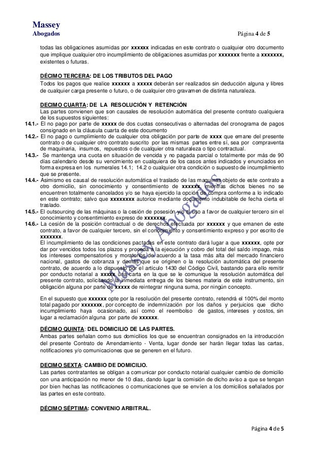 Modelo de minuta de outsourcing opci n de compra fianza for Contrato de hipoteca