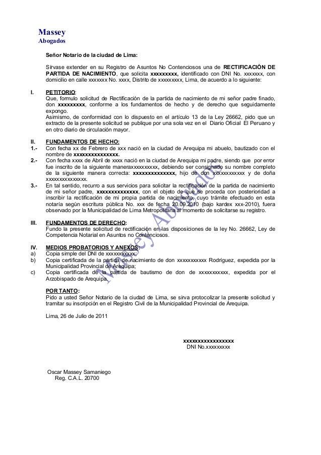 MODELO DE MINUTA DE RECTIFICACIÓN DE PARTIDA DE NACIMIENTO