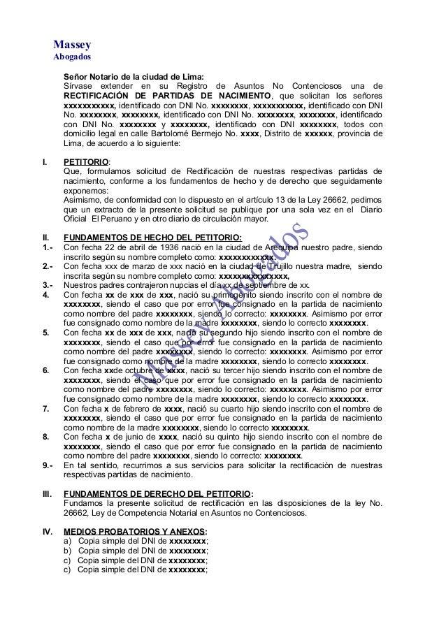 MODELO DE MINUTA DE RECTIFICACIÓN DE PARTIDAS DE NACIMIENTO