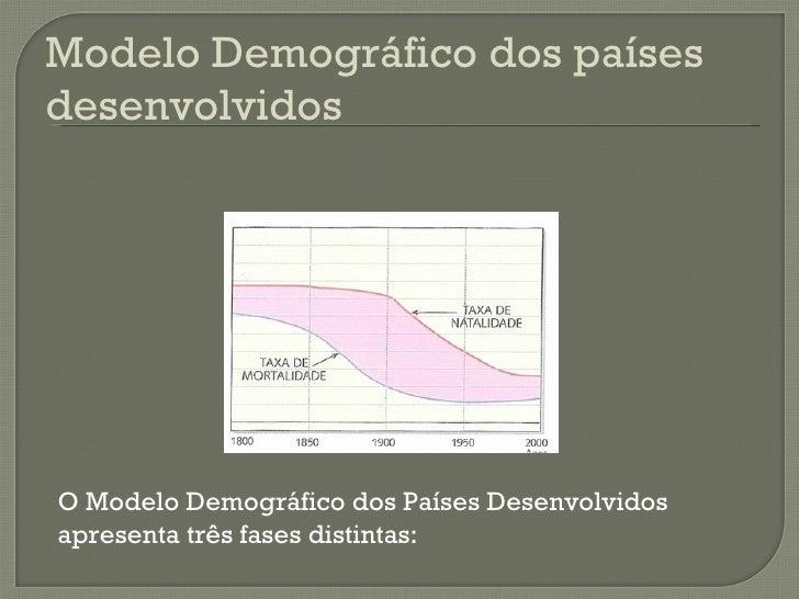 O Modelo Demográfico dos Países Desenvolvidos apresenta três fases distintas:  Modelo Demográfico dos países desenvolvidos