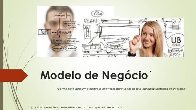 """Modelo de Negócio """"Forma pela qual uma empresa cria valor para todos os seus principais públicos de interesse"""" (*): Este d..."""