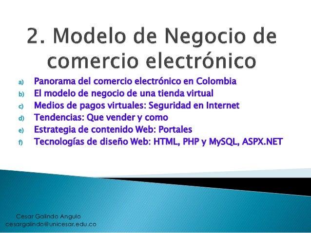 a)   Panorama del comercio electrónico en Colombia    b)   El modelo de negocio de una tienda virtual    c)   Medios de pa...