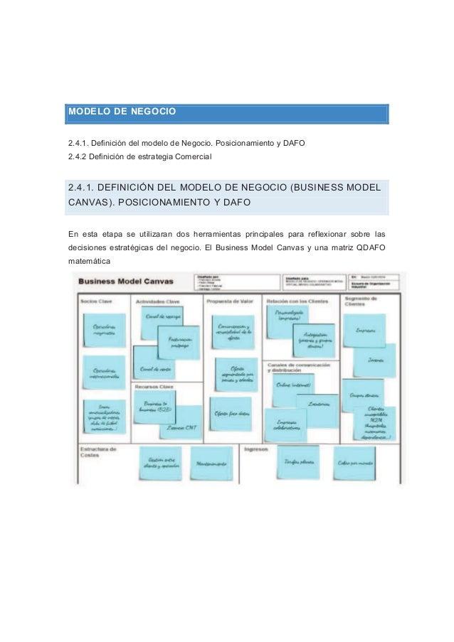 MODELO DE NEGOCIO 2.4.1. Definición del modelo de Negocio. Posicionamiento y DAFO 2.4.2 Definición de estrategia Comercial...
