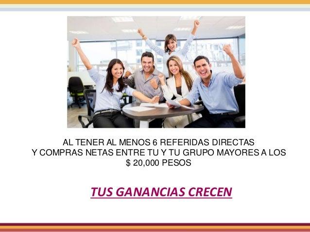 AL TENER AL MENOS 6 REFERIDAS DIRECTAS Y COMPRAS NETAS ENTRE TU Y TU GRUPO MAYORES A LOS $ 20,000 PESOS TUS GANANCIAS CREC...
