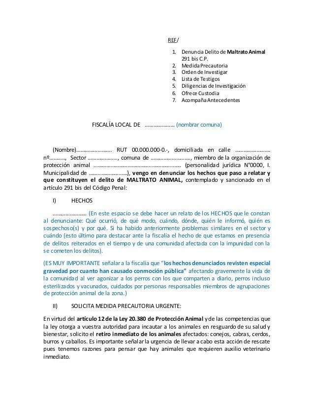 REF/ 1. DenunciaDelitode MaltratoAnimal 291 bisC.P. 2. MedidaPrecautoria 3. Ordende Investigar 4. Lista de Testigos 5. Dil...
