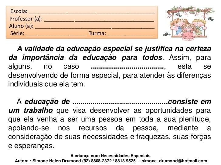 Relatorio de alunos com necessidades especiais