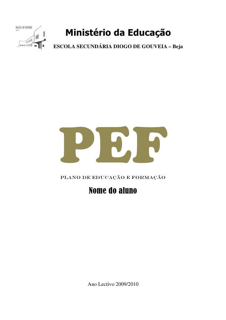 Ministério da Educação ESCOLA SECUNDÁRIA DIOGO DE GOUVEIA – Beja      PEF   Plano de Educação e Formação              Nome...