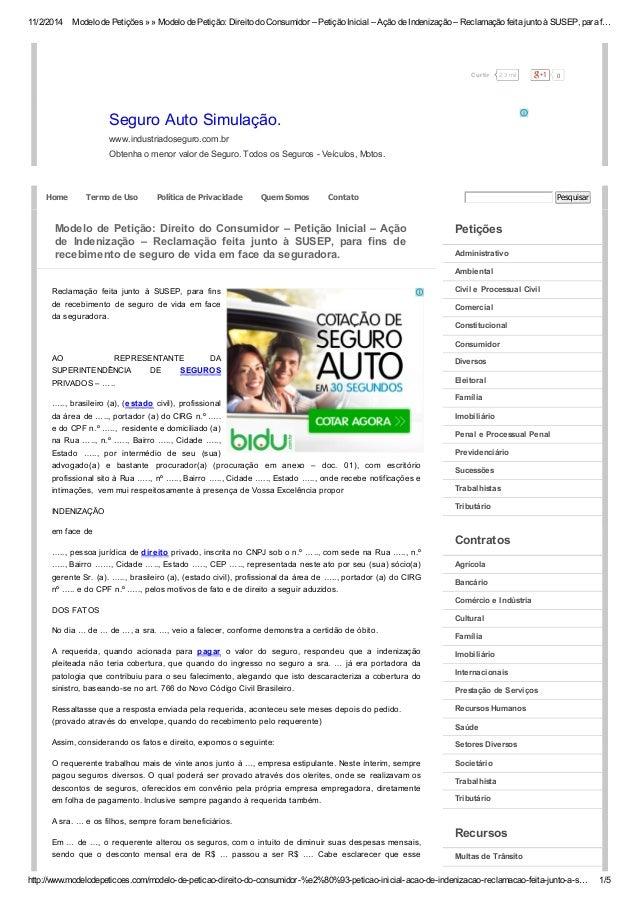 11/2/2014 Modelo de Petições » » Modelo de Petição: Direito do Consumidor – Petição Inicial – Ação de Indenização – Reclam...