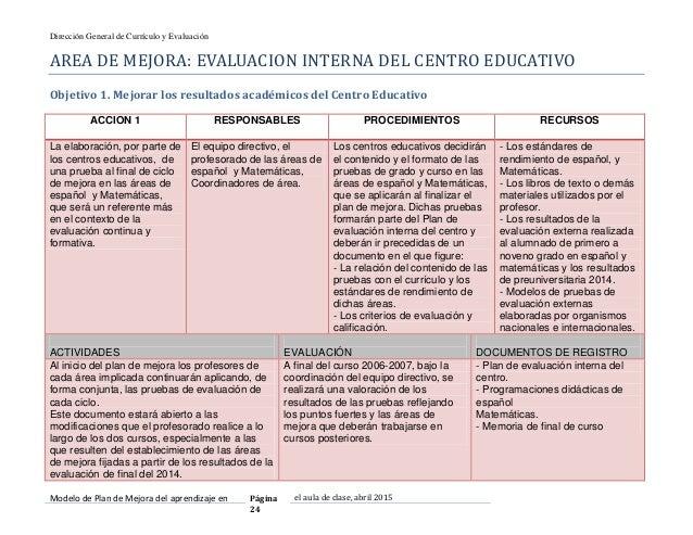 Modelo de plan mejora