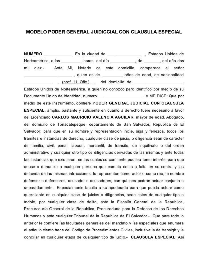 Modelo de poder general judicial (clausula especial)