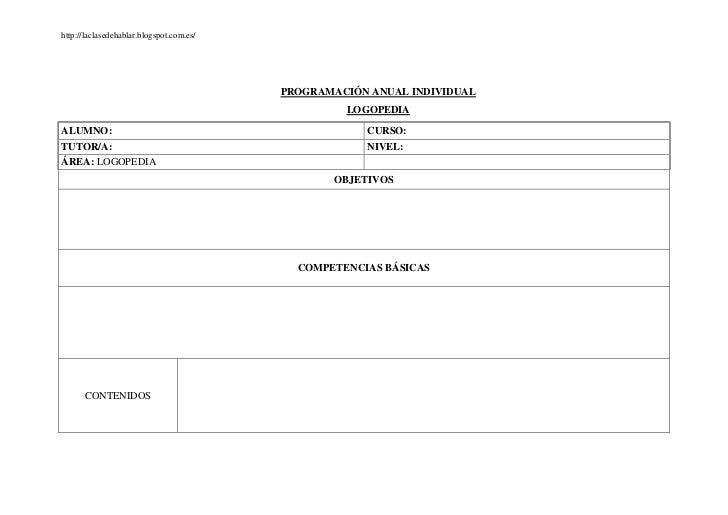 http://laclasedehablar.blogspot.com.es/                                          PROGRAMACIÓN ANUAL INDIVIDUAL            ...