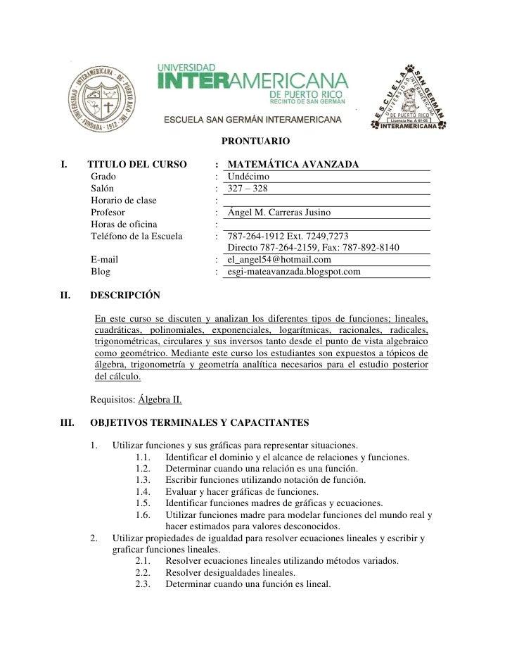 PRONTUARIO  I.     TITULO DEL CURSO              :   MATEMÁTICA AVANZADA         Grado                        :   Undécimo...