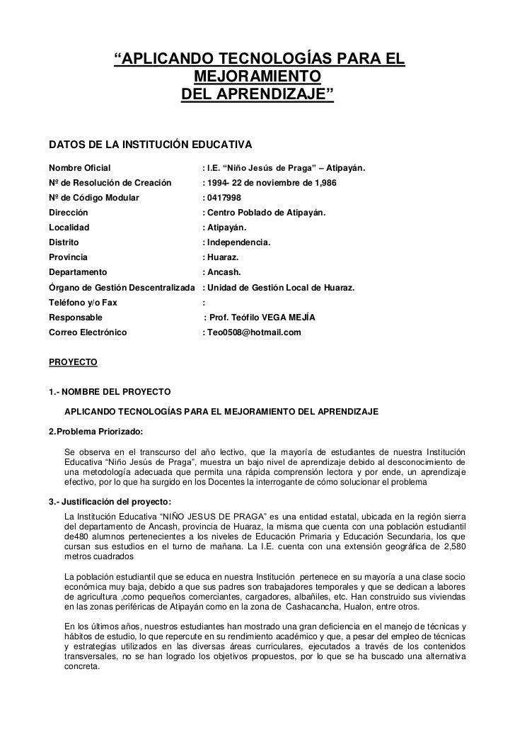 """""""APLICANDO TECNOLOGÍAS PARA EL                         MEJORAMIENTO                        DEL APRENDIZAJE""""DATOS DE LA INS..."""