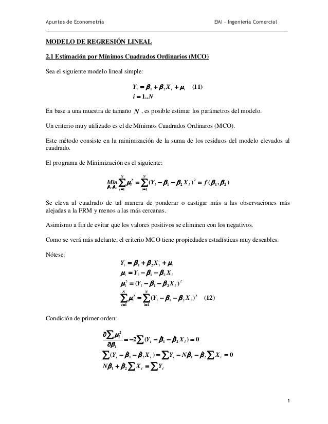 Apuntes de Econometría                                                           EMI – Ingeniería ComercialMODELO DE REGRE...