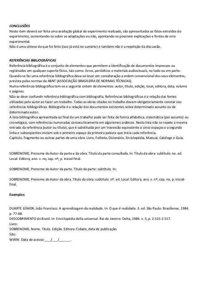 Modelo de relatorio academico