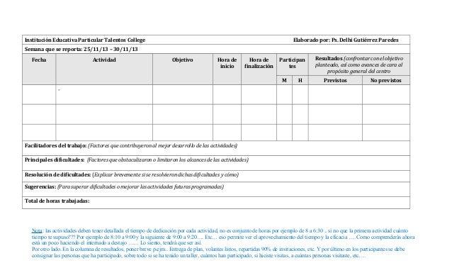 Modelo de reporte semanal for Formato nomina semanal